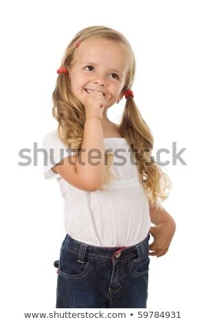 Délelőtt izgatott kislány mosolyog álmodozás izolált Stock fotó © ilona75