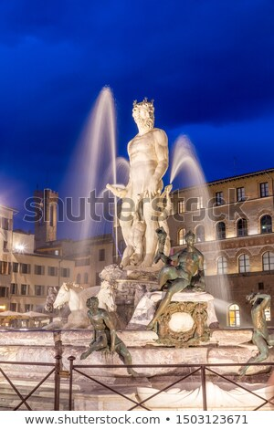 Illuminated Neptune fountain in Florence Stock photo © pixachi