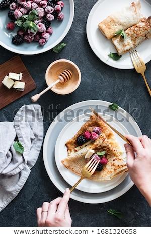 Crepe bogyós gyümölcs torta eper reggeli diéta Stock fotó © M-studio