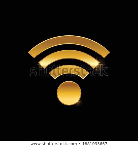 Radio signaal gouden vector icon ontwerp Stockfoto © rizwanali3d