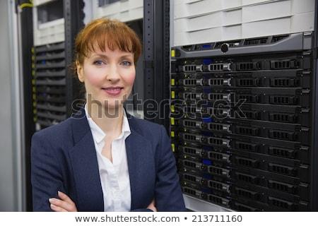 довольно техник улыбаясь камеры сервер Сток-фото © wavebreak_media