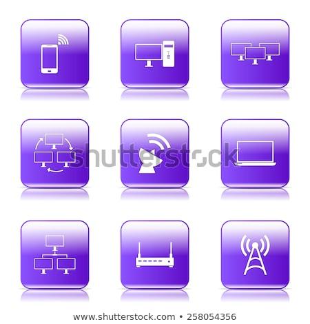 Stock fotó: Kommunikáció · tér · vektor · ibolya · ikon · terv