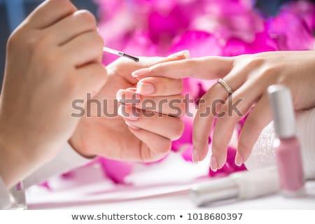 Fingernail woman hand with france manicure Stock photo © leventegyori