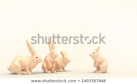 Conejo 3D bajo polígono blanco Foto stock © teerawit