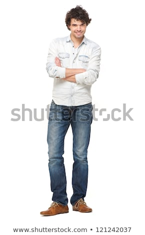 Full length portrait of a casual man with arms folded  Stock photo © deandrobot