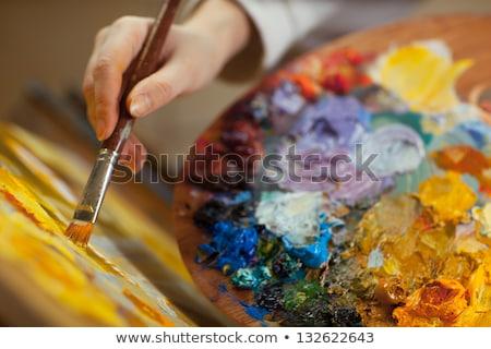 Art palette pétrolières brosse femme Photo stock © deandrobot