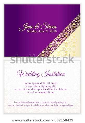 Purple wedding invitation with luxury golden lace in corner and damask pattern inside of the card Stock photo © liliwhite