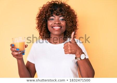 Stockfoto: Gelukkig · vrouw · tonen · duim · omhoog · glas