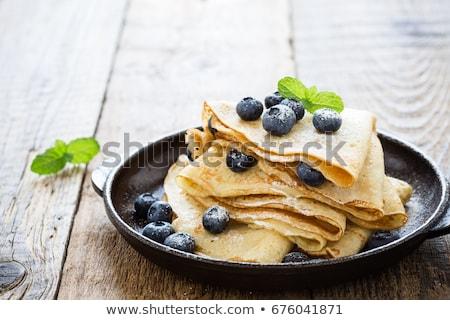 クレープ 新鮮な ブルーベリー デザート ランチ ミント ストックフォト © Digifoodstock