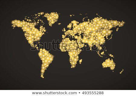 World Map made up from modern golden lights different sizes with bright glowing on dark background stock photo © Evgeny89