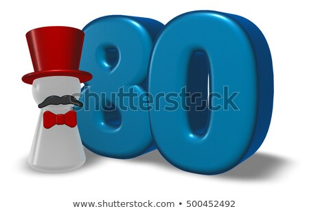 Сток-фото: Number Eighty And Pawn With Hat And Beard - 3d Rendering