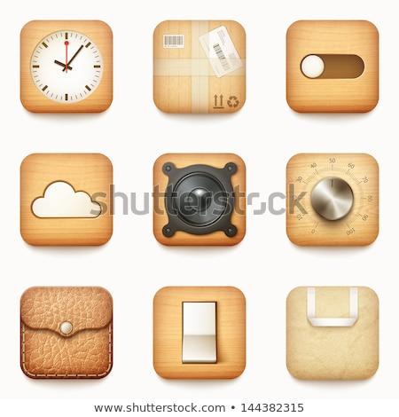 Vektör simgeler uygulamaları ahşap hoparlörler dizayn Stok fotoğraf © Panaceadoll