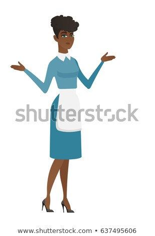 african confused cleaner with spread arms stock photo © rastudio