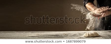 Ekmek un karanlık ahşap masa görüntü fırın Stok fotoğraf © deandrobot