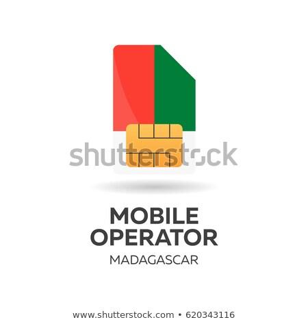 madagascar mobile operator sim card with flag vector illustration stock photo © leo_edition