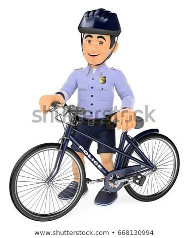 3D politie shorts fiets veiligheid krachten Stockfoto © texelart