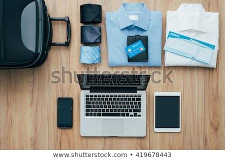 Csomag üzleti út összes táska asztali utazás Stock fotó © stokkete