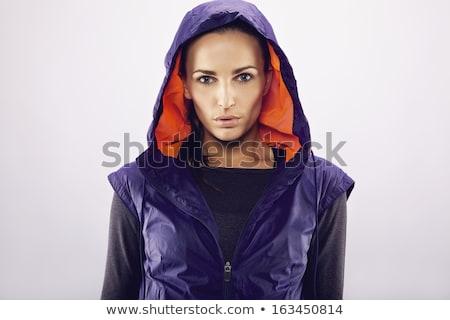 Vrouwelijke atleet jas portret witte Stockfoto © wavebreak_media
