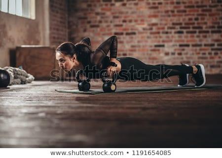 Fiatal nő testmozgás kettlebell fehér nő boldog Stock fotó © wavebreak_media