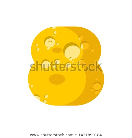 Figure 8 cheese font. numeral eight  of cheesy alphabet. Dairy F Stock photo © popaukropa
