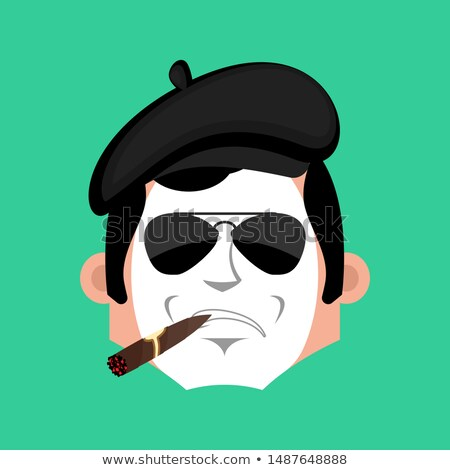 Mime Serious emotion face avatar. pantomime with cigar emoji. mi Stock photo © popaukropa