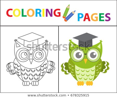 coloring book page wise owl wearing glasses sketch outline and color version coloring for kids c stock photo © lucia_fox