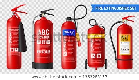 Tűzoltó készülék izolált szabvány henger fúvóka fekete Stock fotó © robuart