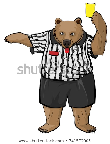 Brown russian bear soccer referee whistles and shows yellow card Stock photo © orensila