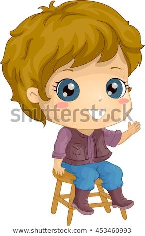 Gyerek fiú hullám csizma zsámoly illusztráció Stock fotó © lenm