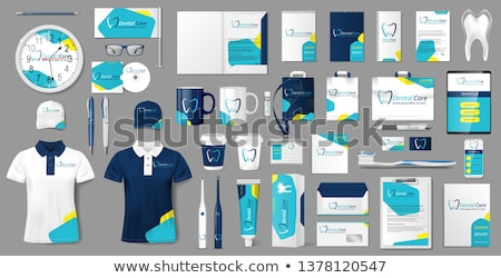 abstract blue business stationery set for your brand identity Stock photo © SArts