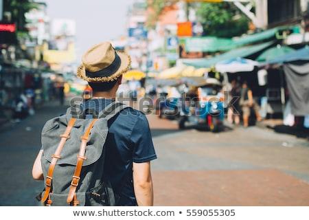 Jovem turista mochila viajar saco verão Foto stock © studioworkstock