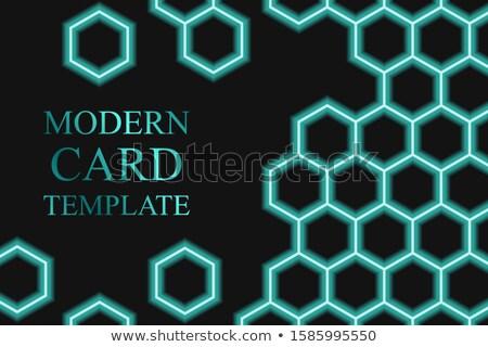 名刺 テンプレート 青 トレンディー ロゴ 創造 ストックフォト © studioworkstock