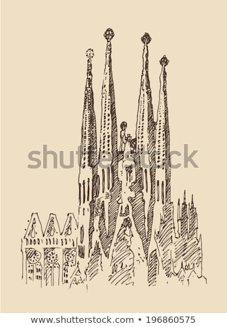 Couleur pour aquarelle illustration bâtiment Barcelone appartement maison Photo stock © Natalia_1947