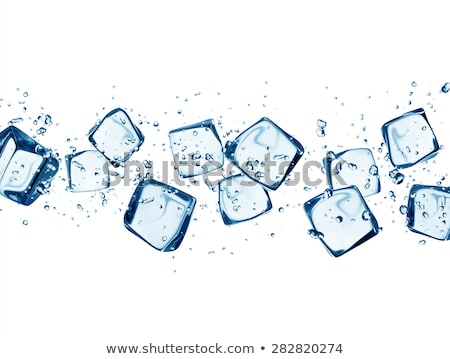 Stockfoto: Glass With Water And Ice Cubes On A White Background