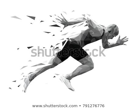 futók · fut · sziluettek · szett · sportos · néz - stock fotó © krisdog