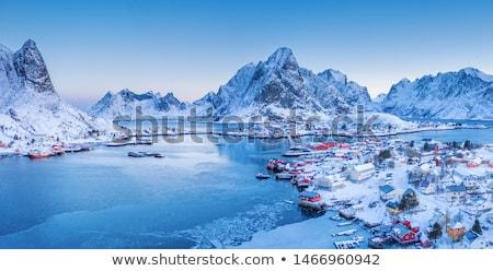 зеркало · Норвегия · горные · пейзаж · снега · красоту - Сток-фото © kotenko