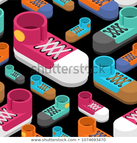 Sneakers isometric seamless pattern. Sports shoes background Stock photo © popaukropa