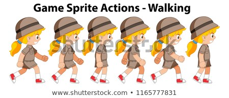 Game spirte actions girl walking Stock photo © bluering