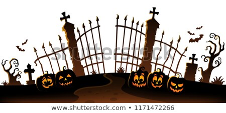 Cemetery gate silhouette theme 6 Stock photo © clairev
