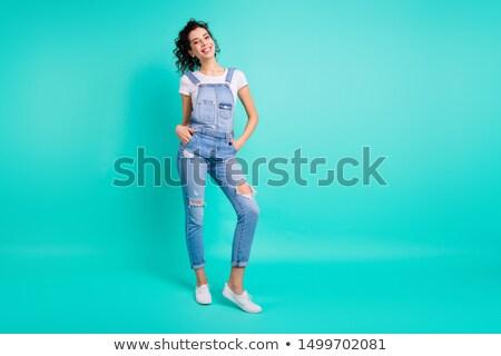 Teljes alakos fotó elegáns örömteli nő göndör haj Stock fotó © deandrobot