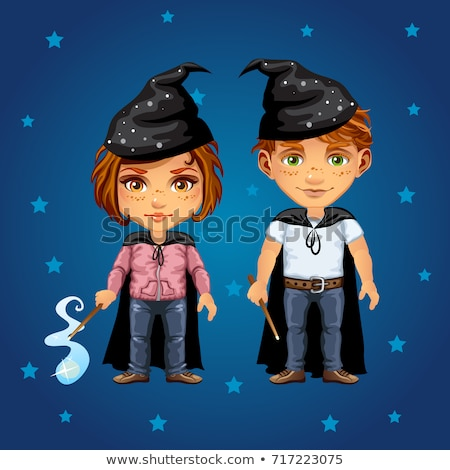 A young boy and girl with a magic wand. A sketch magic poster or party invitation. Cartoon vector cl Stock photo © Lady-Luck