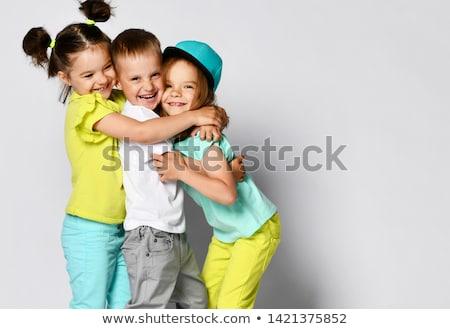 Yalıtılmış mutlu aile küçük ikizler beyaz aile Stok fotoğraf © Imaagio