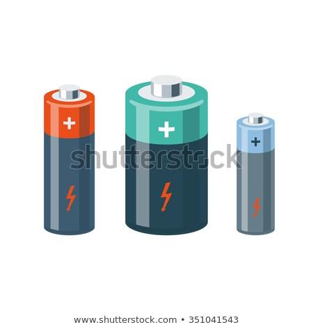 Cartoon batterij teken illustratie witte Stockfoto © cthoman