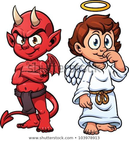 Sorridente pequeno desenho animado diabo ilustração Foto stock © cthoman