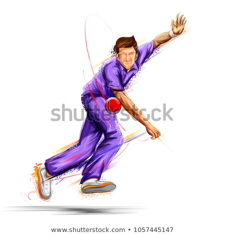 Cricketer bowling a ball vector illustration. Stock photo © Vicasso