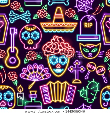Dia de Los Muertos Neon Icons Stock photo © Anna_leni