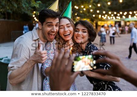 group of joyful multhiethnic students stock photo © deandrobot