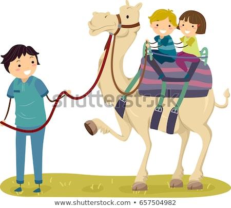 Crianças camelo guiá ilustração equitação tour Foto stock © lenm