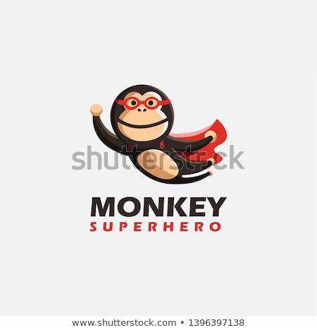 Karikatür gülen süper kahraman şempanze hayvan grafik Stok fotoğraf © cthoman
