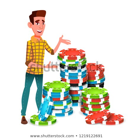 Young Gambler With Huge Stack Of Poker Chips Vector. Isolated Illustration Stock photo © pikepicture